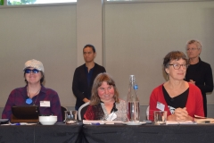 Sharon Brandford, Gabrielle Hogg, Esther Woodbury, Chris Perkins and Martine Abel with NZSL Interpreters